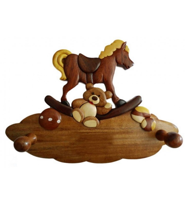 Porte-manteau enfant en bois personnalisable, Les jouets d'antan