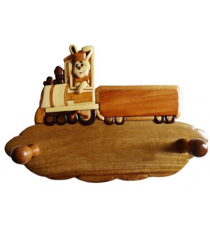 Porte-manteau enfant en bois personnalisable, Lapin conducteur de train