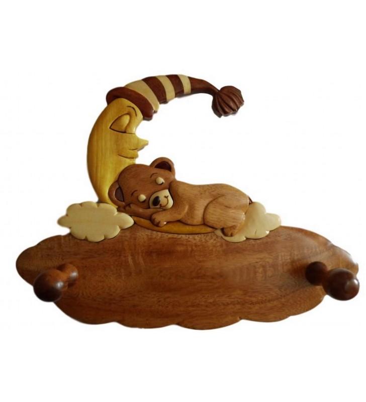 Porte-manteau enfant en bois personnalisable, Ourson dormeur