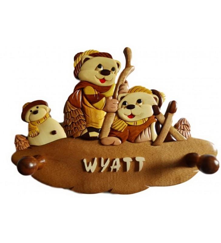 Porte-manteau enfant en bois personnalisé, Oursons skieurs
