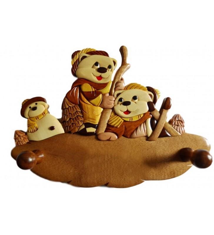 Porte-manteau enfant en bois personnalisable, Oursons skieurs
