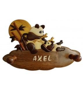 Porte-manteau enfant en bois personnalisé, Pandas