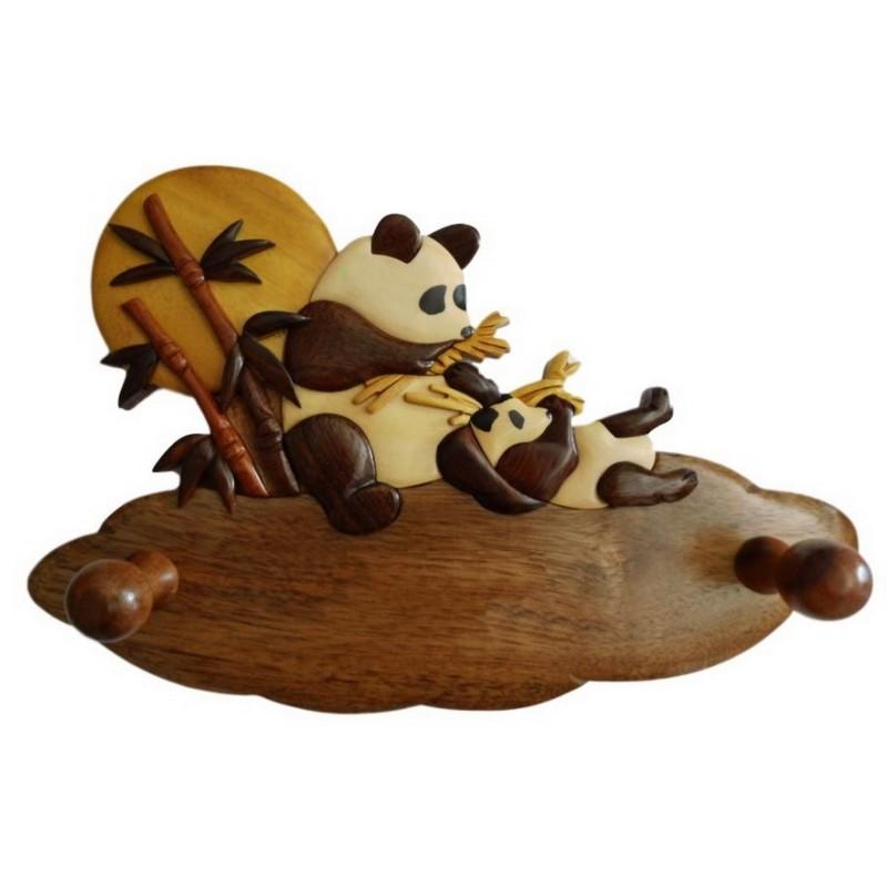 Porte-manteau enfant en bois personnalisable, Pandas