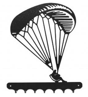 Accroche-clés, décor en métal, Parapente