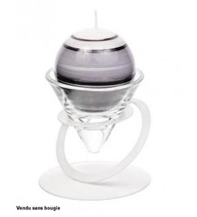 Bougeoir anneau Satellite original en métal laqué, Blanc