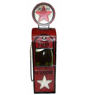 Porte-bouteille original en métal, Pompe à essence vintage