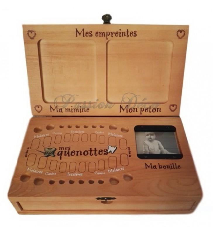 Boîte à dents et empreintes avec prénom, date de naissance, taille et poids de Bébé
