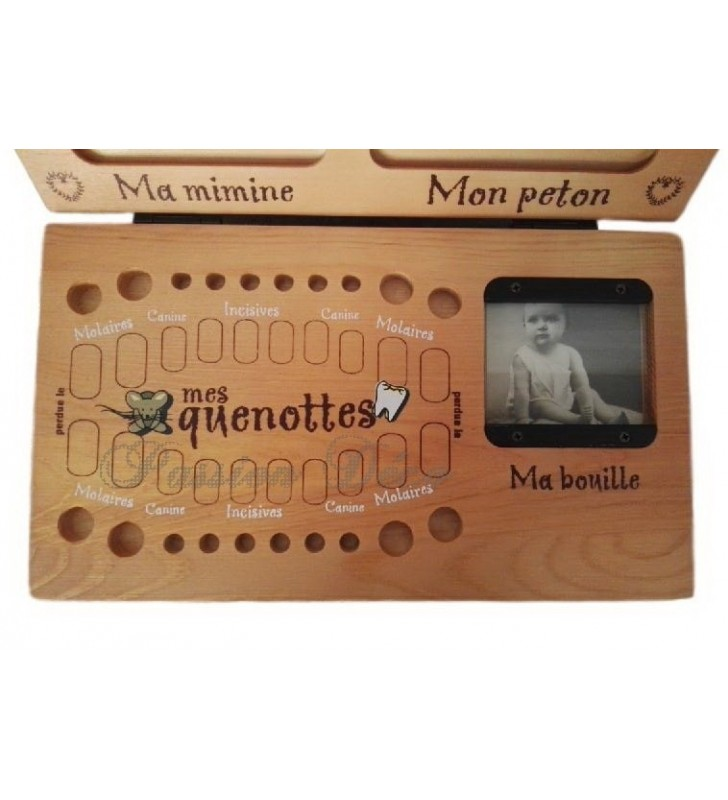 Boîte à dents de lait et empreintes avec emplacements pour les quenottes et une photo de Bébé