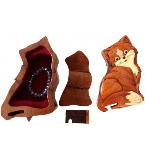 Intérieur de la boîte puzzle secrète à bijoux en bois intarsia, Chat