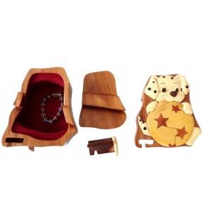 Intérieur de la boîte puzzle secrète à bijoux en bois intarsia, Chien dalmatien