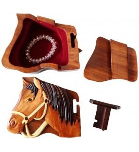 Intérieur de la boîte puzzle secrète à bijoux en bois intarsia, Cheval
