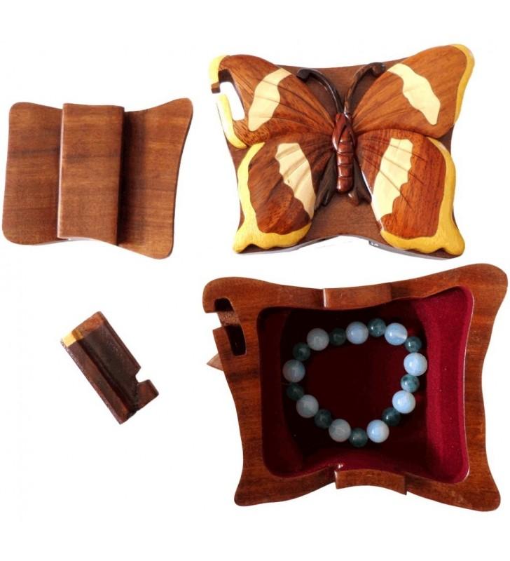 intérieur de la boîte puzzle secrète à bijoux en bois intarsia, Papillon