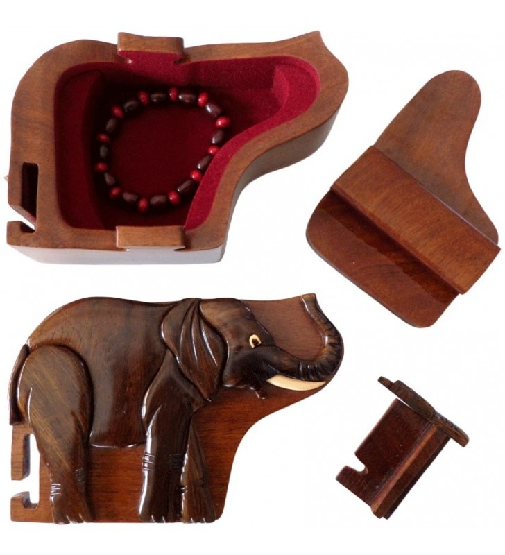 Intérieur de la boîte puzzle secrète à bijoux en bois intarsia, Eléphant