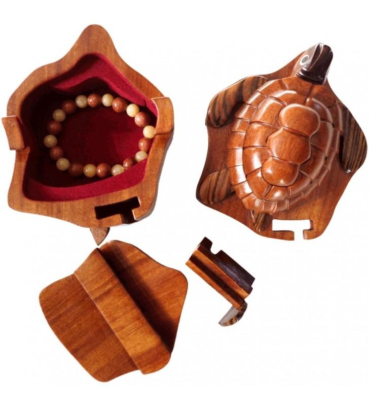 Boîte puzzle secrète à bijoux en bois intarsia, Tortue