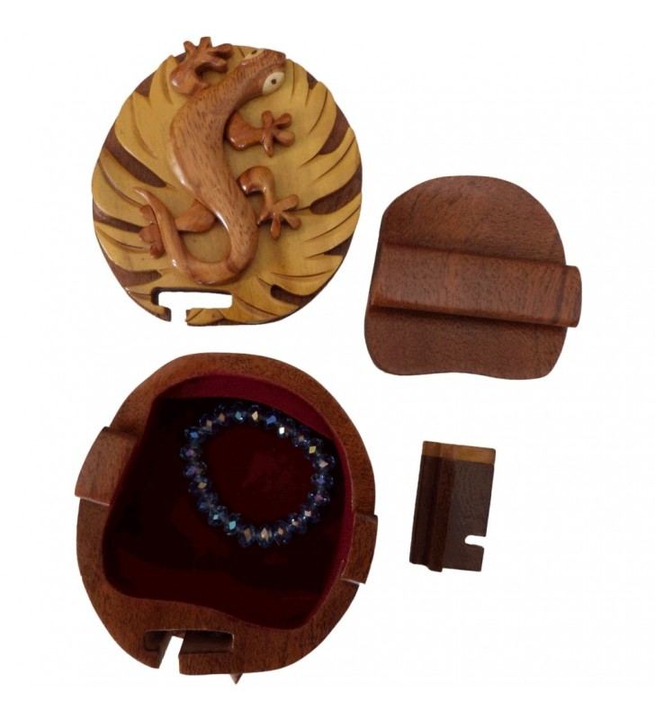 Boîte puzzle secrète à bijoux en bois intarsia, Gecko