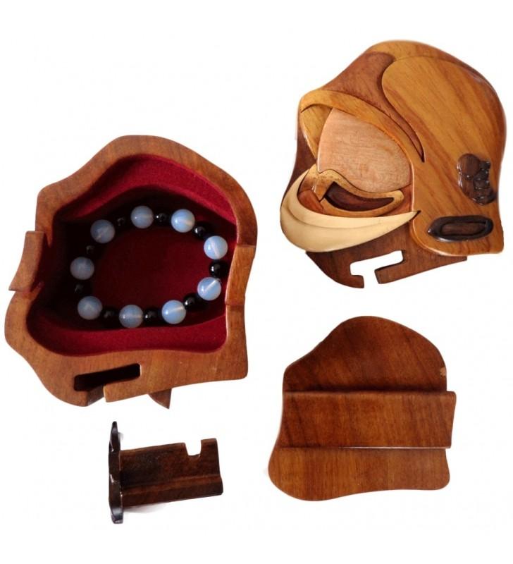 Intérieur de la boîte puzzle secrète intarsia, Casque de Pompier F1