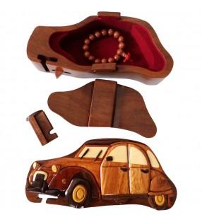 Intérieur de la boîte puzzle secrète à bijoux en bois intarsia, Citroën 2 CV
