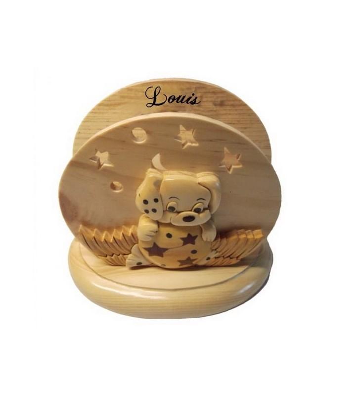 Lampe de chevet veilleuse en bois avec prénom, Chien Dalmatien
