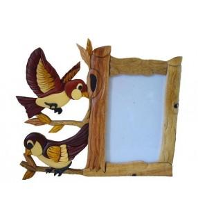 Cadre photo en bois, modèle Oiseaux