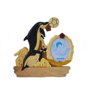 Cadre photo et plaque prénom en bois, modèle Dauphins