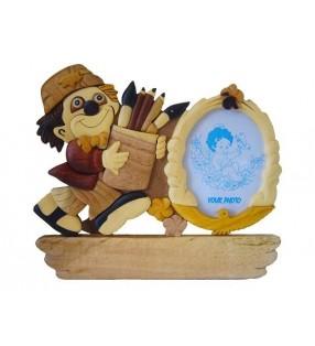 Cadre photo et plaque prénom en bois, modèle Clown