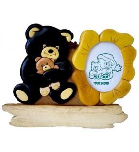 Cadre photo et plaque prénom, modèle ours noir