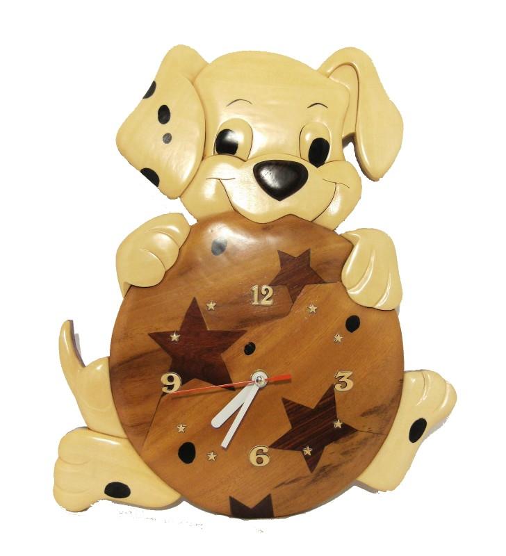 Horloge en bois, Chien Dalmatien, déco pour chambre enfant