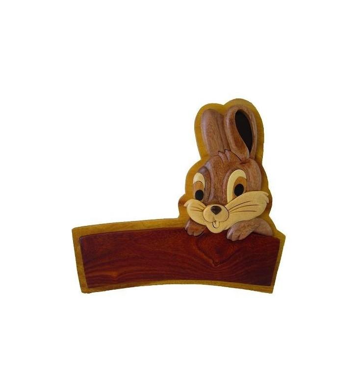 Plaque de porte prénom en bois, Lapin