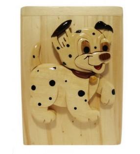Tirelire en bois, modèle Chien dalmatien