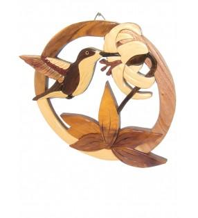 Décor mural intarsia en bois, Colibri
