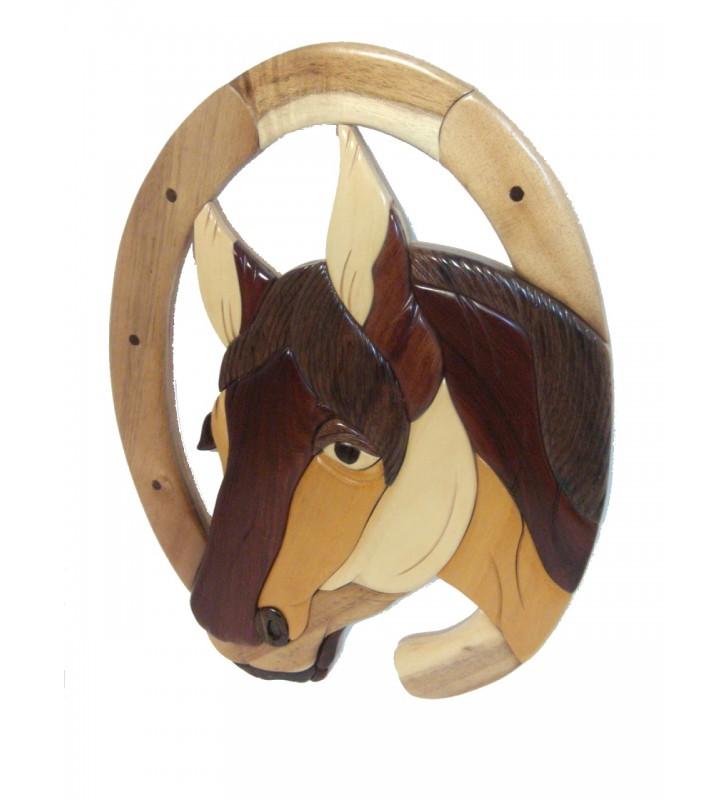 Décor mural intarsia bois, Cheval et fer à cheval