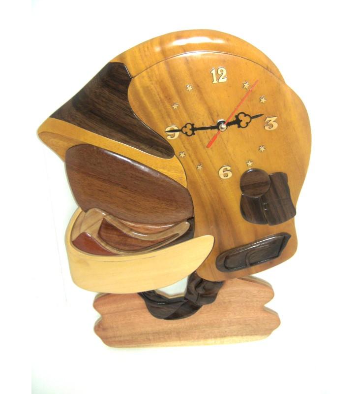 Horloge intarsia avec prénom en bois, Casque de Pompier F1