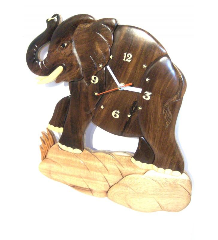 Horloge intarsia murale en bois, Eléphant