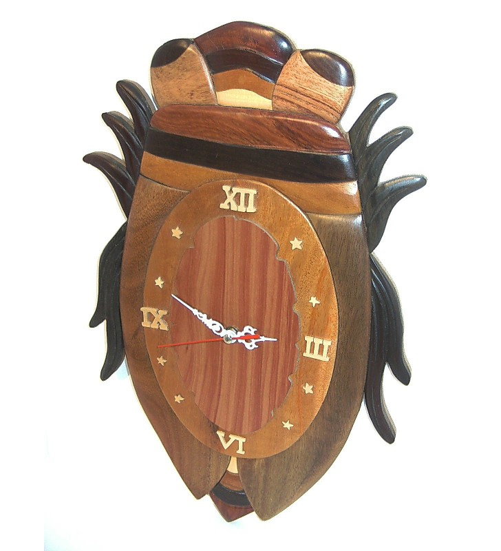 Horloge intarsia murale en bois, Cigale