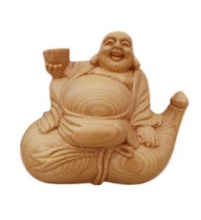 Bouddha rieur en bois, sur bouteille