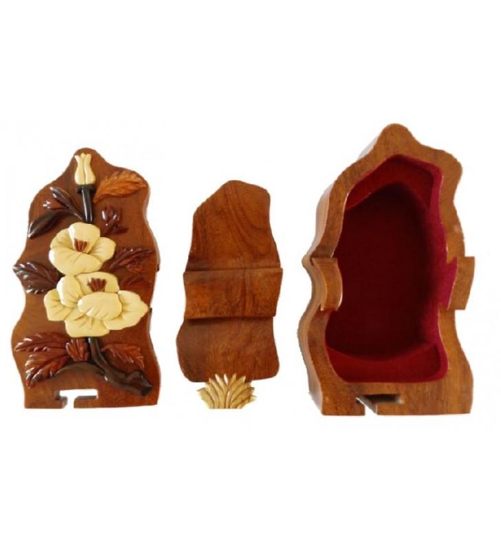 Intérieur de la boîte à secrets en bois, modèle Fleurs