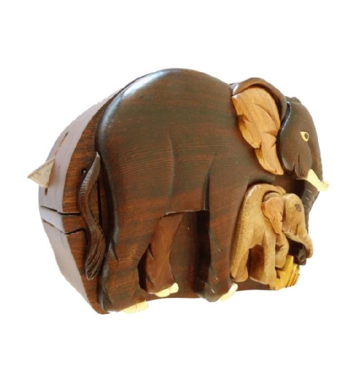Boîte à secrets en bois, Éléphants