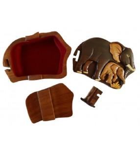 Intérieur de la boîte secrète puzzle en bois, Éléphants