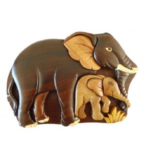 Boîte secrète en bois, Éléphants