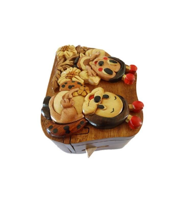 Boîte secrète en bois, Abeille et Coccinelle