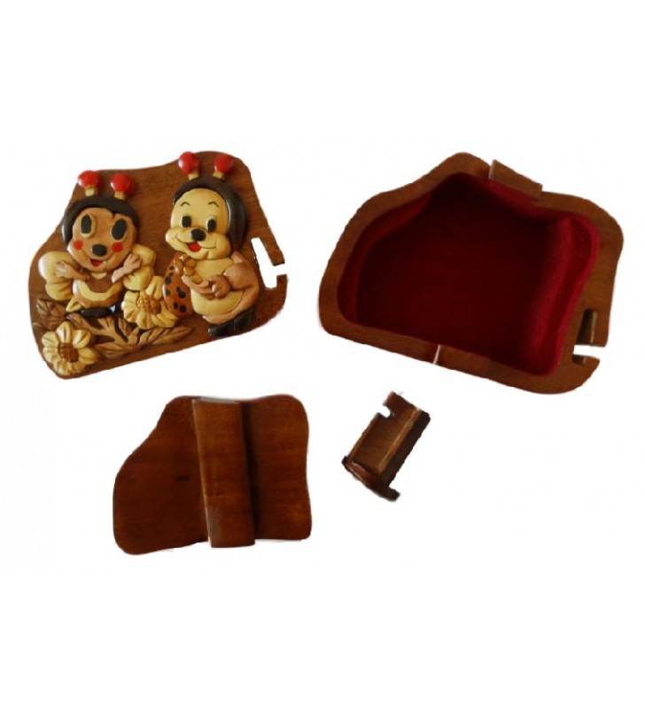 Intérieur de la boîte secrète puzzle en bois, Abeille et Coccinelle