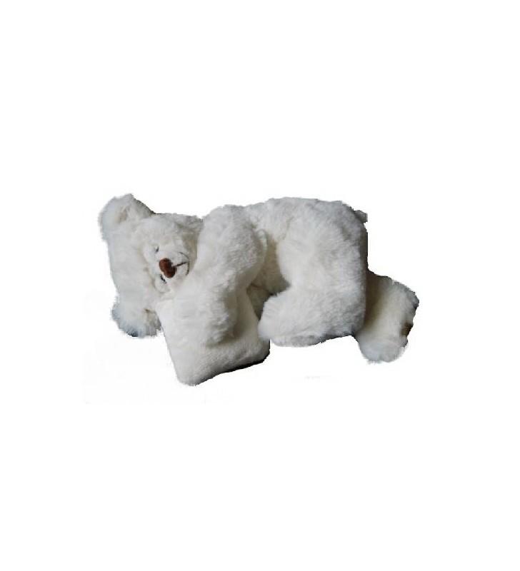 Peluche Louise Mansen, ourson dormeur Marvyn, Blanc