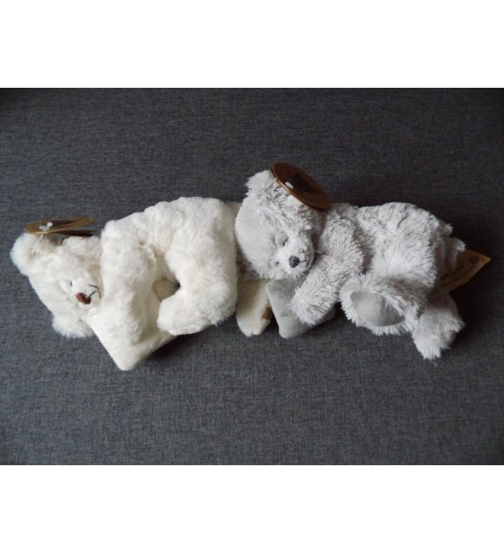 Peluche Louise Mansen, ourson dormeur Marvyn, Blanc ou Gris