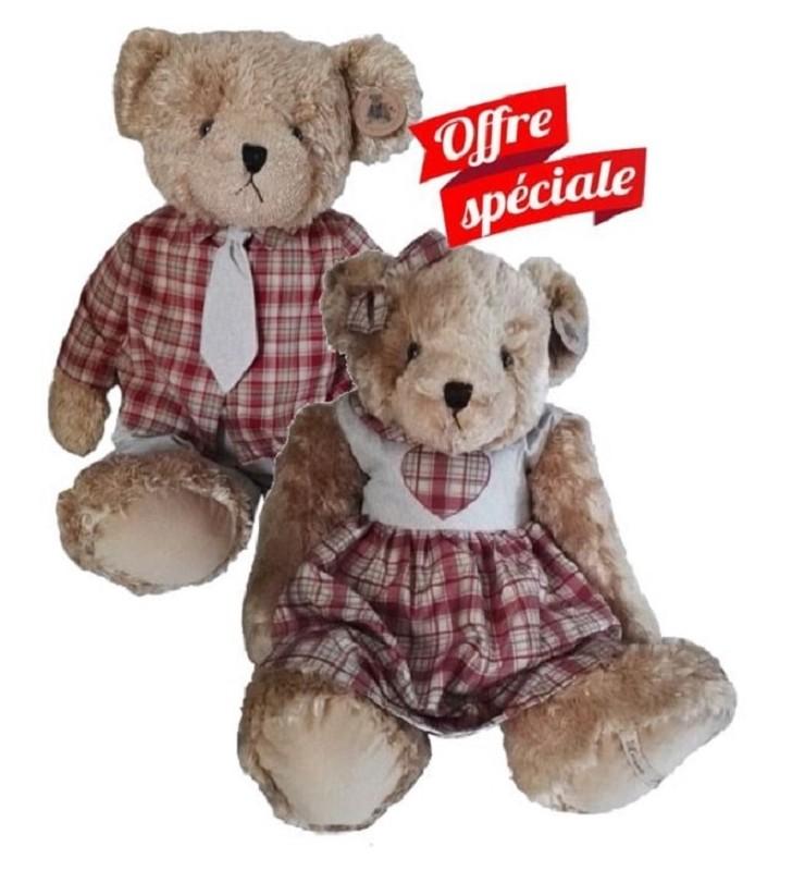Couple d'ours Louise Mansen, Lara et Nail, 80 cm