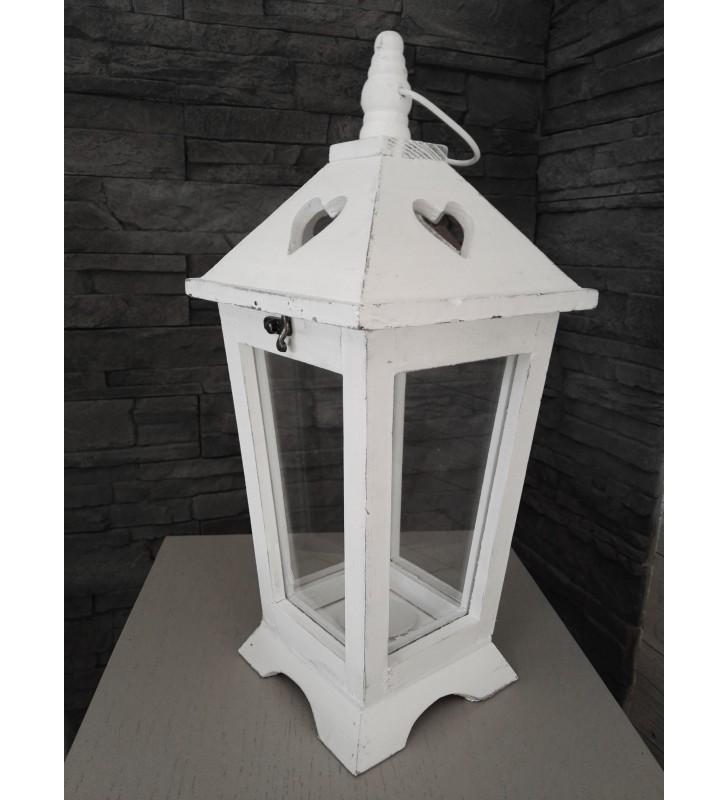 Lanterne en bois blanchi, aspect vieilli