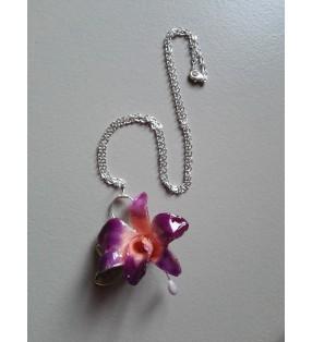 Collier Mini orchidée dendrobium violet / rose