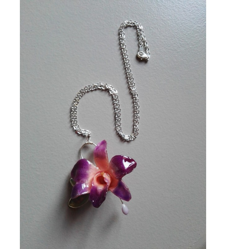 Collier Mini orchidée dendrobium violet / rose