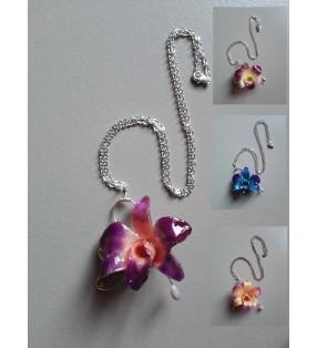 Collier Mini orchidée dendrobium chaîne argentée