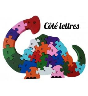Puzzle en bois 3D ludique, côté lettres, modèle dinosaure