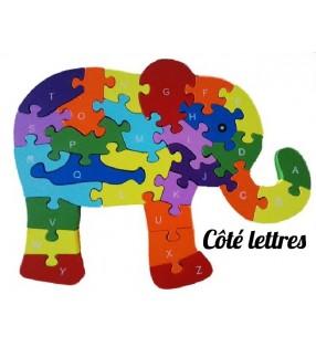 Puzzle en bois 3D ludique, côté lettres, modèle éléphant
